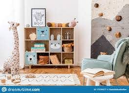 Cute Interior Of Kid Room With Baby Accessories And Toys Stock Image Image Of Furniture Home 175793277