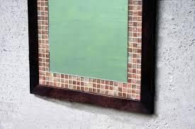 mosaic tile framed mirror copper glass