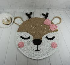Crochet Deer Rug For Baby Room Reindeer Kids Rug Deer Nursery Etsy