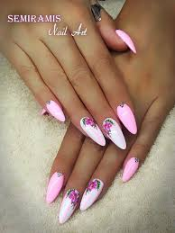 Pink White Nails Cn Royal Gel No18 Pink Flowers With Images