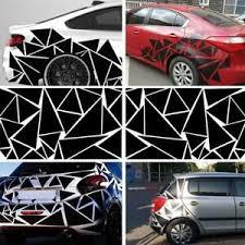 Glossy Black Car Body Side Glossy Geometric Triangle Graphics Decal Sticker Ebay