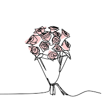 continuous line drawing of rose flower