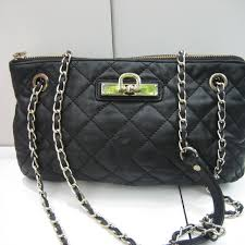 black quilted leather chain strap