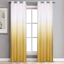Amazon Com Yellow Ombre Blackout Window Curtains 1 Panel Of Room Darkening Thermal Insulated Grommet Drapes Faux Linen Window Treatments Curtains For Kids Bedroom Living Room Sliding Glass Door 39x106 Inch Kitchen