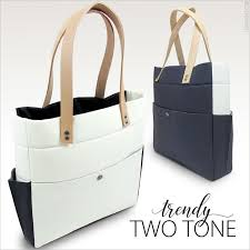 modern two tone tote with tandy leather
