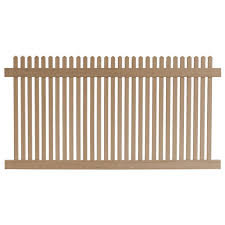 Veranda 4 Ft H X 8 Ft W Cedar Grove Redwood Vinyl Picket Fence Panel 8898345hd The Home Depot