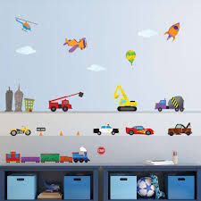 Train Car Airplane Construction Truck And City Wall Stickers Peel Stick Decals For Baby And Kid Rooms