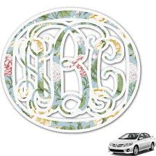 Vintage Floral Monogram Car Decal Personalized Youcustomizeit