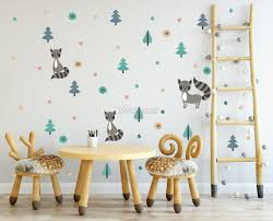 Kids Pine Tree And Little Florals Wall Decal Sticker Wall Decals Wallmur