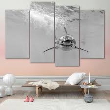 4p 65x47inch Large Canvas Wall Decor Prints Underwater World Sharks Black And White Wish