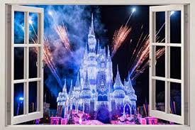 Frozen Disney Castle 3d Window View Decal Wall
