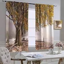 Amazon Com Hengshu Leaves Bedroom Drapery Birches Of A Big Tree In The First Fall Of Snow December Country Blizzard Frozen Nature Curtains For Kids Bedroom Multi W72 X L45 Inch Privacy Home