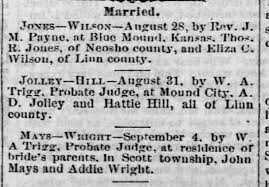Marriage notice, John Mays and Addie Wright. - Newspapers.com