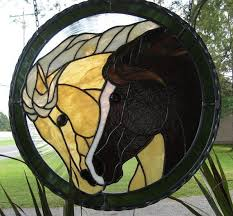 wild horses stained glass panel 08050