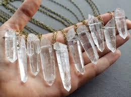 clear quartz necklace raw crystal