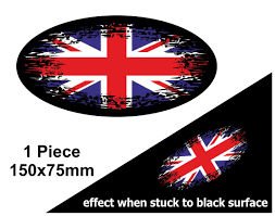 Fade To Black Oval Design Union Jack British Flag Vinyl Car Sticker Decal 150x75mm