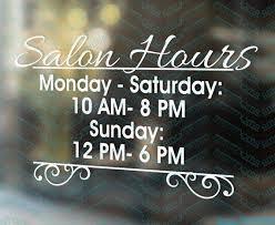 Salon Hours Nail Salon Sign Shop Decal Shop Window Decal Etsy