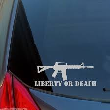 Liberty Or Death Rifle Gun Rights 2a Second Ar15 Vinyl Car Window Decal Sticker