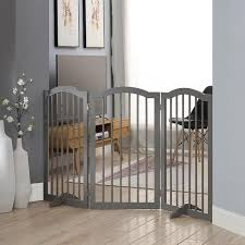 Shop Unipaws Indoor Freestanding Pet Gate Wooden Dog Gate Arched Top Overstock 25413163