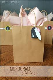 monogram gift bags personalized paper