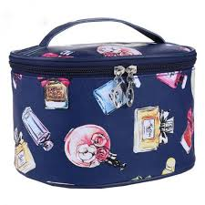 women blue leather cosmetic bags