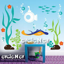 Underwater Wall Decal Sea Theme Wall Stickers Evgienev Kids Wall Decals Metal Tree Wall Art Underwater Theme
