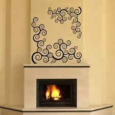 Swirls Over Fireplace Custom Wall Vinyl Decals