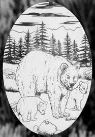 Oval Bear Etched Glass Decal Static Cling Window Film World