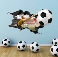3d Football Wall Decal Cracked Full Colour Wall Art Sticker Etsy Football Wall Sticker Wall Art Childrens Wall Decals