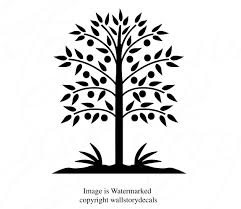 Family Wall Decals Folk Art Tree Silhouette Wall Decor Small Medium Large 39 Colors Sign Family Tree Graphics Living Room