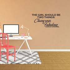Wall Decal Quote The Girl Should Be Two Things Classy And Fabulous Coco Chanel Lettering Sticker Stencil Xj18 Walmart Com Walmart Com