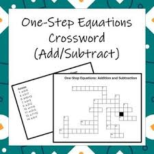 one step equations crossword addition