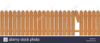 Wooden Picket Fence With Gap In The Fence Palisade Or Stockade With Broken Plank And Loophole To Slip Through Escape Bolt Run Away Break Free Stock Photo Alamy