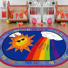 Cartoon Anti Skid Kids Area Rugs Oval Child Large Carpet For Boys Girls Babies Playroom Bedroom Study Room Nursery Living Room Bathroom Baby Crawling Mat Sun Rainbow Numbers Wish