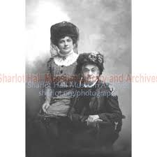 Sharlot and Adeline Hall Wearing Hats Portrait
