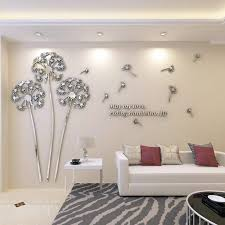 Amazon Com Yinasi 3d Diy Dandelion Shape Acrylic Wall Sticker Modern Stickers Decoration Living Room Removable Mural Wallpaper Art Decals Home Decor Silver Kitchen Dining