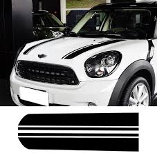 Amazon Com Hood Decal Bonnet Racing Stripes Engine Cover Vinyl Stickers For Bmw Mini Cooper Countryman R60 2010 2016 Gloss Black Arts Crafts Sewing