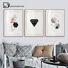 Best Price 381d Geometric Diamonds Wall Art Canvas Posters Prints Abstract Painting Decorative Picture For Kids Room Nordic Decoration Cicig Co