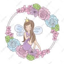 Hada Flores Boda Ilustracion Vectorial Para Imprimir Invitacion