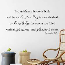 Amazon Com Proverbs 24 3 4 Vinyl Wall Decal By Wild Eyes Signs By Wisdom A House Is Built Bible Wall Words Living Room Art Feature Wall Modern Christian Home Decor Pro24v3 0001 Handmade