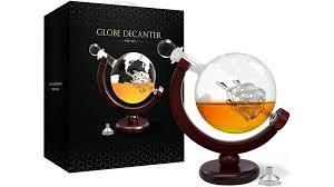 whiskey decanter set world etched globe