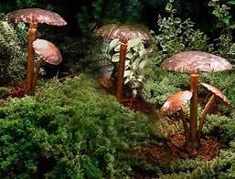 mushroom cap copper led landscape