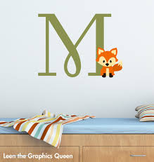 Fox Monogram Initial Removable Wall Decal