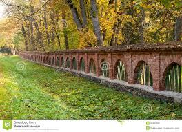 Old Brick Fence In Autumn Landscape Stock Photo Image Of Foliage Landscape 45494992