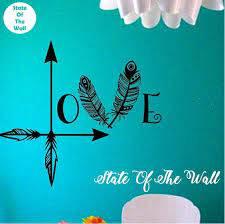 Love Arrow Wall Decal Feather Namaste Vinyl Sticker Art Decor Etsy