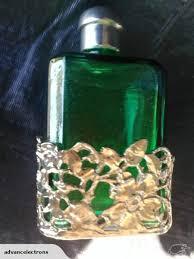 vintage green glass perfume bottle w