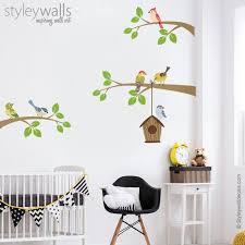 Birds Wall Decal Branch Wall Decal Branch And Birds Wall Etsy In 2020 Bird Wall Decals Wall Decal Branches Bird Nursery Decor