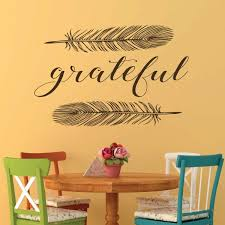 Amazon Com Gratitude Wall Decal Grateful Word With Feathers Design Elegant Vinyl Stickers For Dining Room Living Room Bedroom Handmade