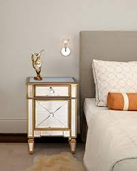 mirrored nightstand bedside end table