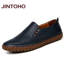 men genuine leather shoes slip